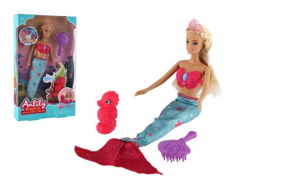 Panenka mořská panna Anlily plast 30cm s doplňky v krabici 20x33x5cm