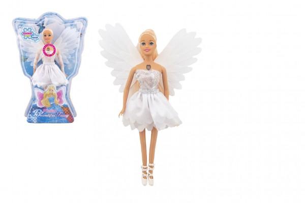 Panenka víla s křídly plast 29cm bílá na baterie se světlem v blistru 24x34x6cm