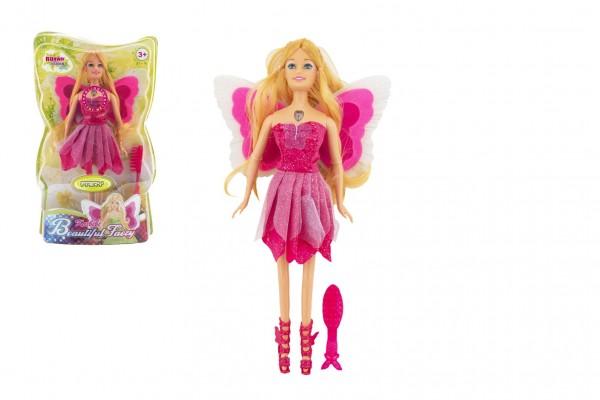 Panenka víla s křídly plast s doplňky 30cm růžová na baterie se světlem v blistru 20x32x7cm