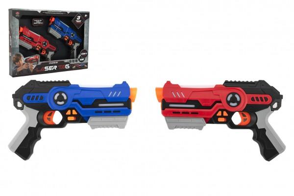 Pistole 2ks laser game plast 25cm na baterie se zvukem a se světlem v krabici 46x33x6cm
