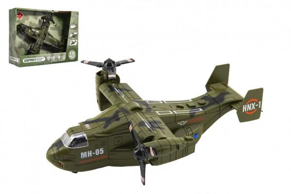 Letadlo vojenské plast 26cm na setrvačník na baterie se světlem se zvukem v krabici 31x24x11cm