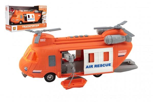 Vrtulník záchranářský plast 28cm na setrvačník na bat. se světlem se zvukem v krabici 32x19x12cm