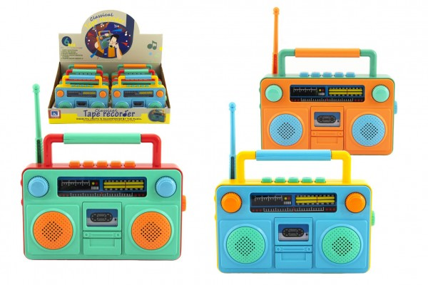 Rádio dětské plast 15x12cm na baterie se zvukem se světlem 3 barvy 6ks v boxu
