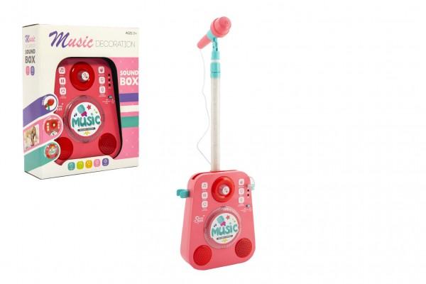 Mikrofon karaoke plast 18x26cm růžový na baterie se zvukem se světlem v krabici 27x34x10cm
