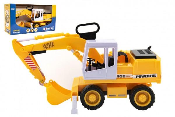 Stavební stroj bagr nakladač plast 38cm na setrvačník v krabici 41x23x16cm