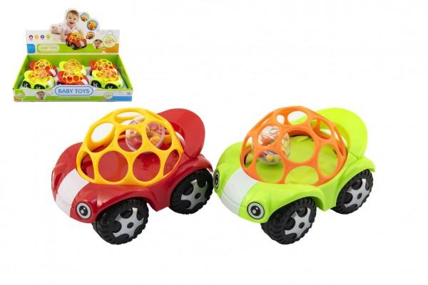Auto pro nejmenší s míčkem 8x11cm 2 barvy 6ks v boxu