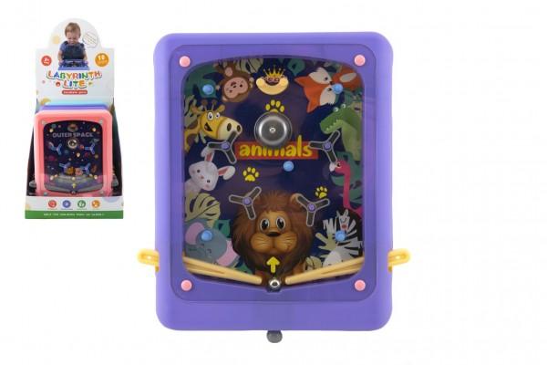 Pinball hra kuličková cvrnkací hlavolam plast 21x24cm 3 barvy 10ks v boxu