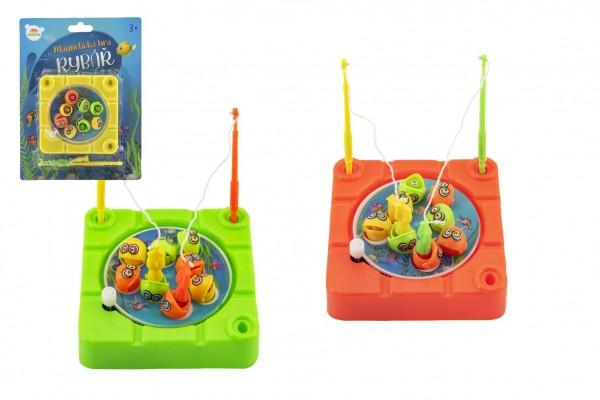 Hra ryby/rybář magnetická plast 10x10cm na natažení 3 barvy na kartě 15x20x3cm
