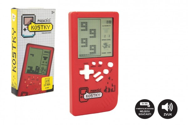 Digitální hra Padající kostky hlavolam plast 14x7cm červená na baterie se zvukem v krabičce 7,5x14,5
