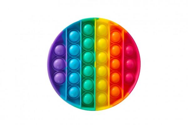 Bubble pops - Praskající bubliny silikon antistresová spol. hra kruh duha 12cm v sáčku