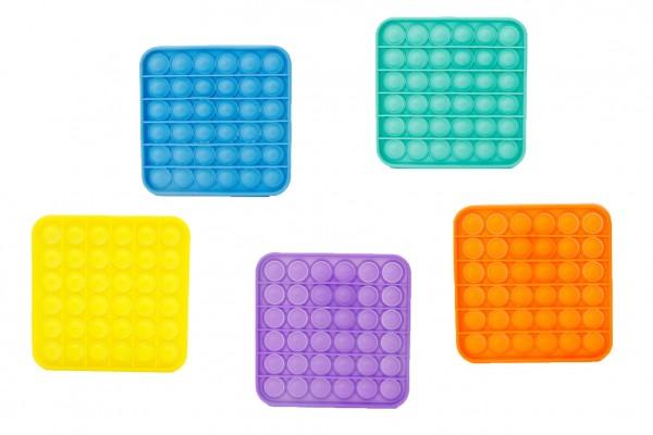 Bubble pops - Praskající bubliny silikon antistresová spol. hra 5 barev čtverec 12,5x12,5cm v sáčku