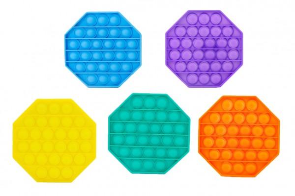 Bubble pops - Praskající bubliny silikon antistresová spol. hra 5 barev osmihran 12x12cm v sáčku