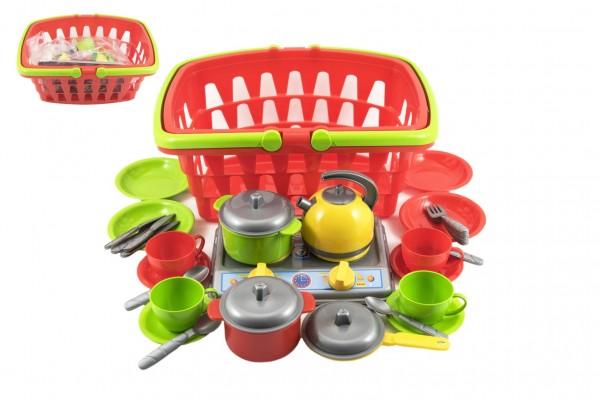 Nákupní košík plast + sada nádobí s vařičem v sáčku
