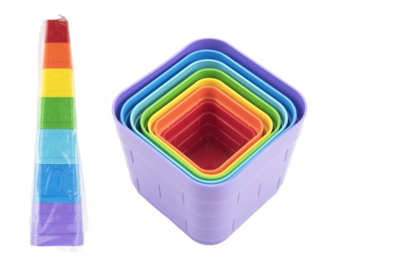 Kubus pyramida skládanka plast hranatá barevná 7ks v sáčku 12m+