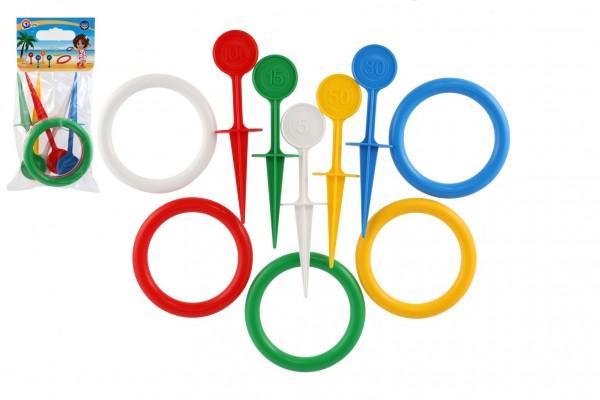 Hra házecí kroužky a kolíky plast 22cm v sáčku