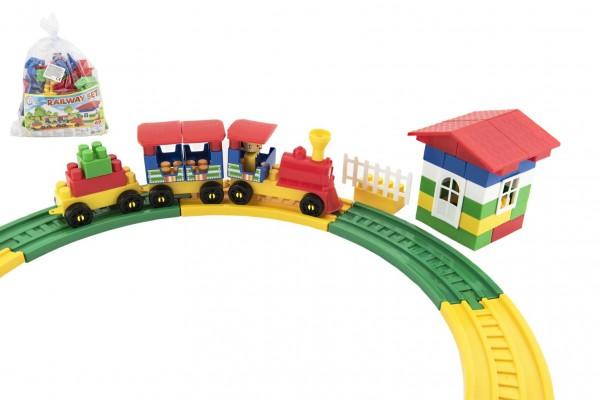 Stavebnice vlak s vagónky plast 69ks v sáčku 28x27x13cm