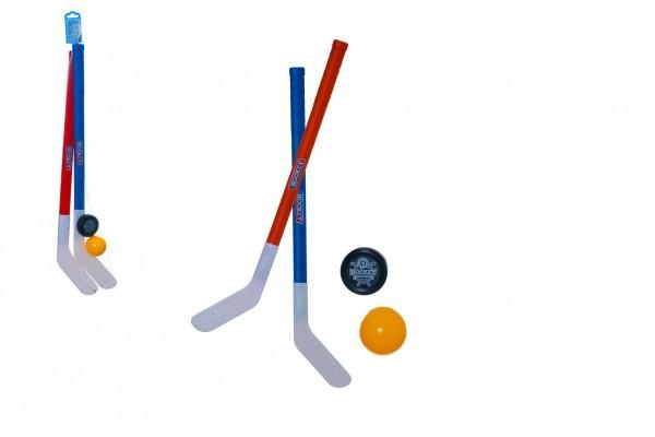 Hokejka pozemní 2ks plast 72cm + florbalový míček +plastový puk v síťce