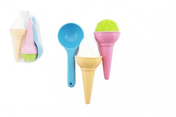 Formičky Bábovky na písek plast zmrzlina 3ks v síťce 17x10cm 12m+