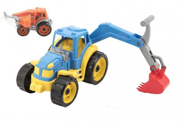 Traktor se lžící plast 16x24cm 2 barvy v síťce