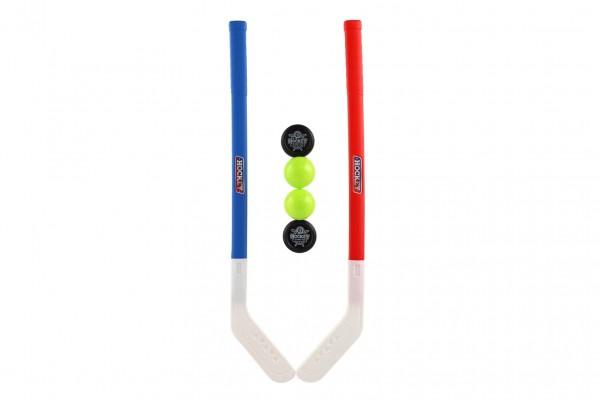 Hokejka plast 73cm s pukem a míčkem 2 barvy v síťce