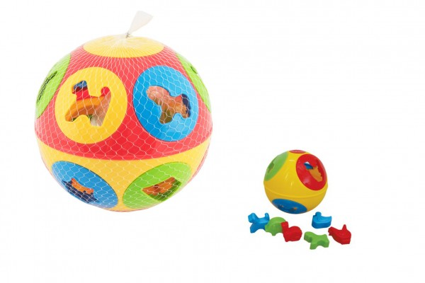 Vkládačka míč plast průměr 13cm 2 barvy v síťce 12m+