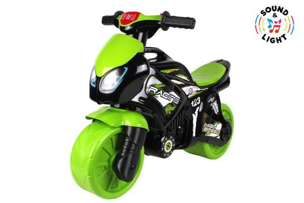 Odrážedlo motorka zeleno-černá plast na baterie se světlem se zvukem v sáčku 36x53x74cm