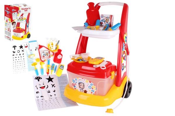 Sada doktor/lékař plast s vozíkem s doplňky v krabici 38x62x20 cm