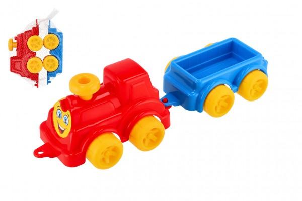 Lokomotiva/Vlak s vagonem 41cm plast v síťce 21x13x22cm 12m+