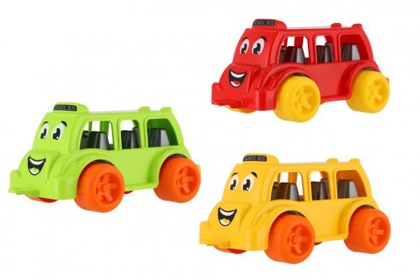 Autobus pro nejmenší plast 26cm na volný chod 3 barvy 12m+