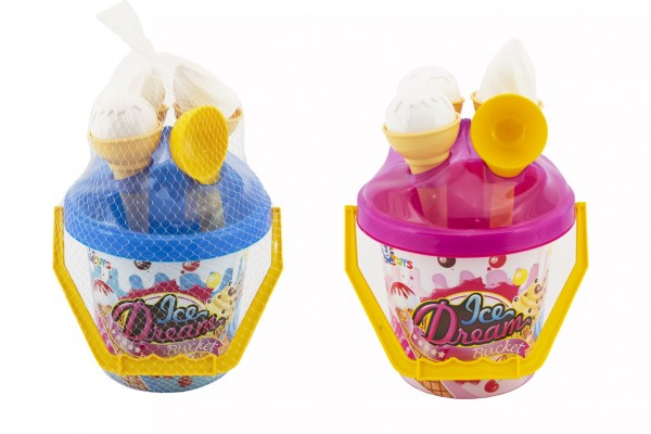 Sada na písek plast kbelík + formičky zmrzlina 2 barvy v síťce 18x28x17cm 12m+