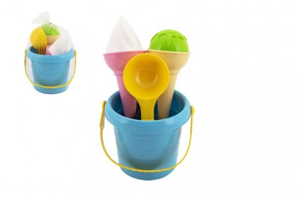 Sada na písek plast kbelík + formičky zmrzlina v síťce 12x17x12cm 12m+
