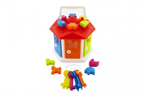 Vkládačka domeček plast s klíči se zvířátky v sáčku 19x20x19cm 12m+