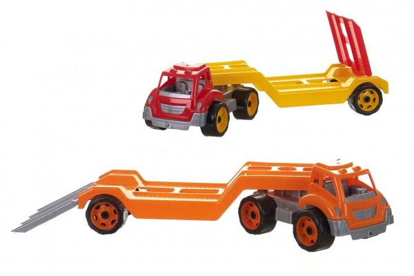 Auto kamion přepravník/odtahovka plast 65cm na volný chod 2 barvy v síťce