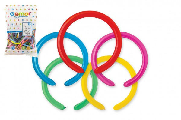 Balonek nafukovací had modelovací 100ks v sáčku 25x30cm karneval
