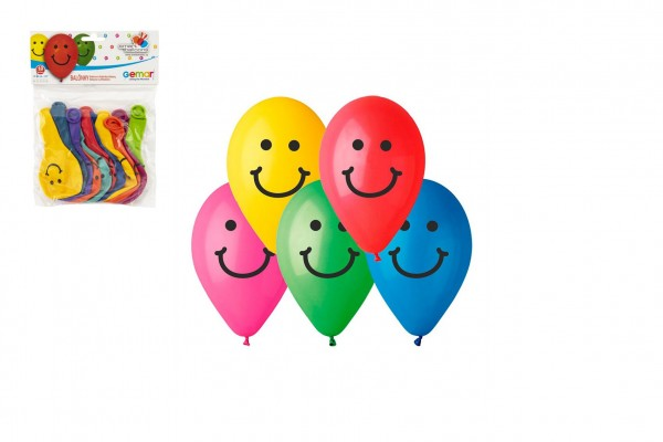 """Balonek nafukovací 9"""" potisk Smile 10cm 10ks v sáčku karneval"""