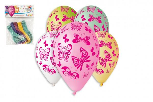 Balonek/Balonky nafukovací motýl 12'' průměr 30cm 5ks v sáčku