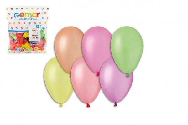 """Balonek/Balonky nafukovací 7"""" párty neon 100 ks v sáčku 22x28cm karneval"""