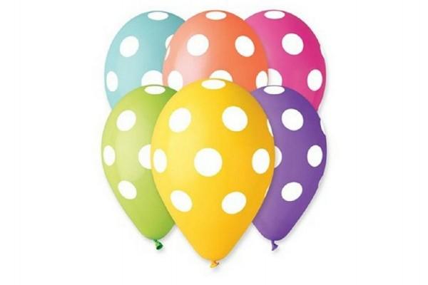 Balonek/Balonky nafukovací puntík 12'' průměr 30cm 5ks v sáčku