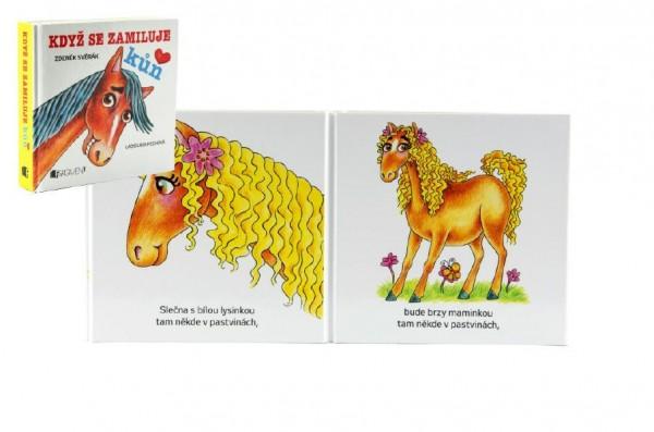 Knížka leporelo Když se zamiluje kůň 11x10cm 12m+