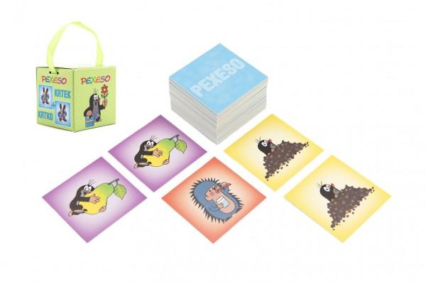 Pexeso Krtek papírové společenská hra 32 obrázkových dvojic v papírové krabičce 6x6cm