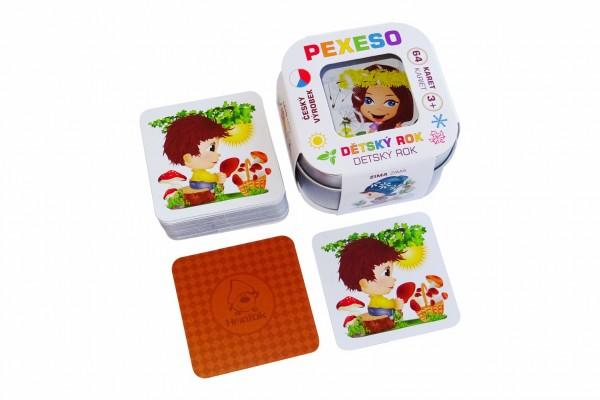 Pexeso dětský rok voděodolné 64 karet v plechové krabičce 6x6x4cm Hmaťák