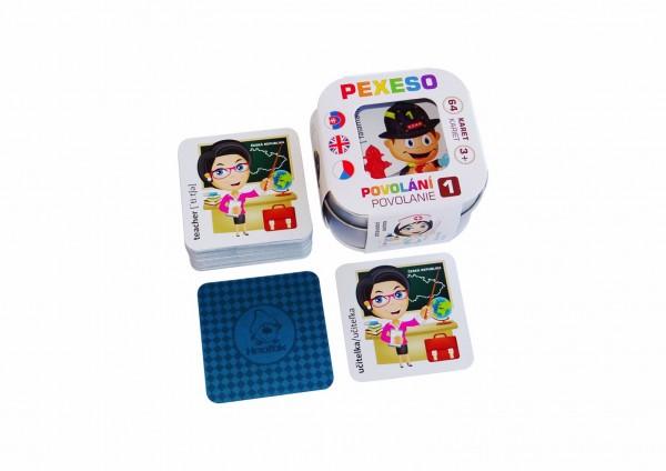 Pexeso Povolání 1 voděodolné 64 karet v plechové krabičce 6x6x4cm Hmaťák