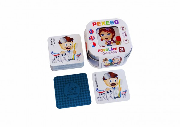 Pexeso Povolání 2, 64 karet v plechové krabičce 6x6x4cm Hmaťák