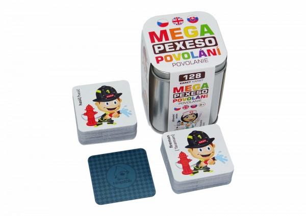 Mega Pexeso Povolání 128 karet v plechové krabičce 6x6x8,5cm Hmaťák