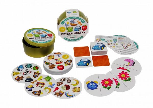 Dětské hrátky pro nejmenší 3v1 společenská hra v plechové krabičce