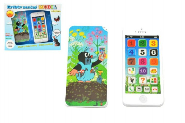 Krtkův naučný mobil telefon s krytem Krtek plast 13x6cm na baterie se zvukem v krabici 12m+