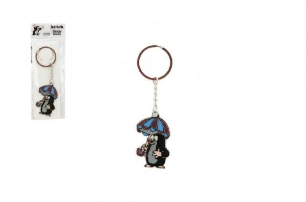 Kovový přívěšek Krtek s deštníkem na klíče 5cm v sáčku