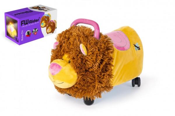Odrážedlo FUNNY WHEELS Rider Ride-On lvíček 50cm plyšový růžový v krabici 49x30x23cm 12m+