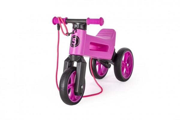 Odrážedlo FUNNY WHEELS Rider SuperSport fialové 2v1+popruh, výš. sedla 28/30cm nos 25kg 18m+ vsáčku