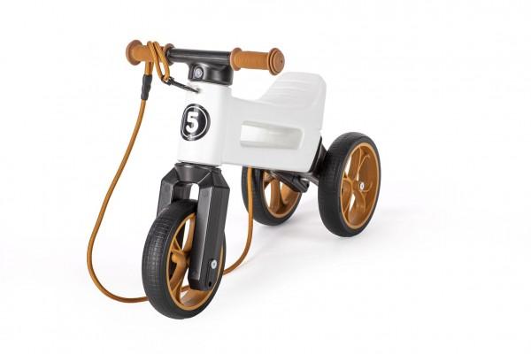 Odrážedlo FUNNY WHEELS Rider SuperSport bílé 2v1+popruh, výš. sedla 28/30cm nos. 25kg 18m+ vsáčku